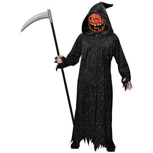 Kürbiskopf-Sensenmann - Sensenmann Halloween Kostüm Herren - Herr Kürbiskopf Kostüm