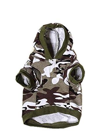 SAMGU Camouflage Toutous Hoodie pull Sweat pull à capuche pour chien chiot color vert militaire size Small