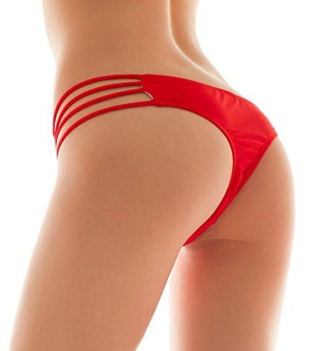 SHEKINI Damen Tanga Bikinihose String Rüschen Brazilian Bikini Slip Schnüren Höschen Rot