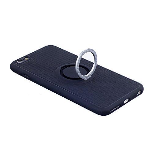 Cover per iphone 6S plus 5.5 pollici, iphone 6 plus 360 gradi di rotazione Metallo Anello Ring Coperture telefoniche, Ekakashop 360°Ultra Slim Full Body Protettivo Cover Case Custodia per iphone 6 plu Stent-Argento