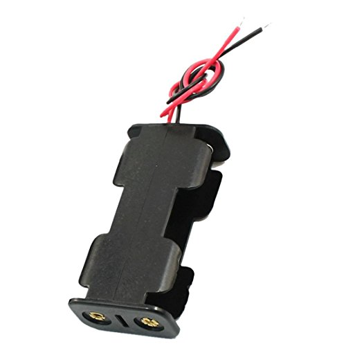 SODIAL(R) 2Pcs Double face Cadre d'ouverture 2 x 1.5V AA Batterie Boite de Support Noir