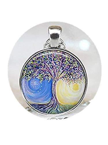 Halskette mit Baum-Anhänger, Glasfliesen, Sonnenschmuck, Silberschmuck, Silber-Halskette