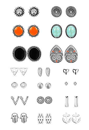 Milacolato 12-18 paio orecchini boho orecchini placcato argento antico orecchini in cristallo turchese per donna