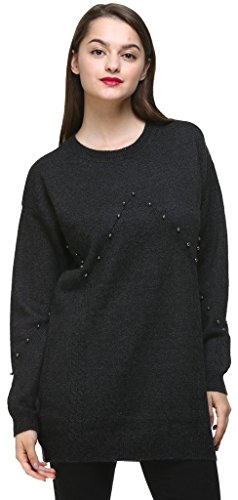 Vogueearth Fashion Femme's Ladies Longue Manche Round Neck Bead Decorated Knit Jumper Sweater Chandail Tricots Pullover Top Noir-Gris