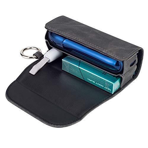 DrafTor E Zigarette Tasche, PU Leder Zigarettenetui für IQOS 3.0 mit mit Clip oder Schnalle (nur Geldbörse)(Grau) - 3 Taschen Für Zubehör