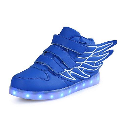 SAGUARO Jungen Mädchen Turnschuhe USB Lade Flashing Schuhe Kinder LED Leuchtende Schuhe mit Farbigen Schnürsenkel, Blau 32