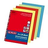 Herlitz 5031604 Universalpapier Colourmix intensiv, A4, 80 g/qm, 100 Blatt farbig sortiert: rot, blau, grün, gelb