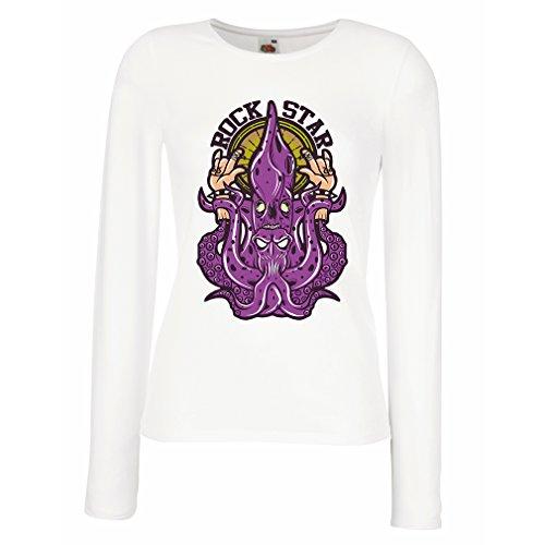 Weibliche Langen Ärmeln T-Shirt Rockstar, Rock Hand, Heavy Metal, Musikslogan, 80er Jahre Band Kleidung (Small Weiß Mehrfarben)