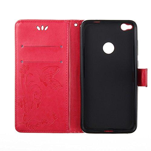 EKINHUI Case Cover Solid Color Faux Leder Bookstyle Brieftasche Stand Case mit geprägten Blumen & Lanyard & Card Slots für Huawei P8 Lite 2017 und P9 LITE 2017 ( Color : Rose red ) Rose red