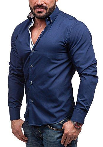 BOLF - Chemise casual – manches longues – BOLF 5796 - Homme Bleu foncé