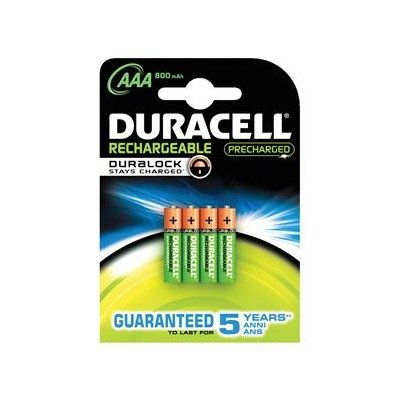 Duracell Rechargeable AAA PK4 Hybride Nickel Metal 800mAh 1.2V Batterie Rechargeable - Batteries Rechargeables (800 mAh, Hybrides Nickel-Métal (NiMH), 1,2 V, Vert, 4 Pièce(s))