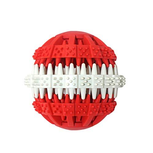 Yuncai Multifunktional Hunde Kauspielzeug Hundefutter Treat Feeder Zahn Reinigung Ball für Haustier Ausbildung/Spielen/Kauen Rot1 L