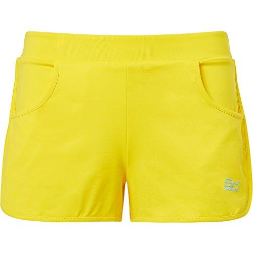 Sportkind Mädchen & Damen Tennis / Volleyball / Sport 2-in-1 Shorts mit Innenhose, gelb, Gr. M
