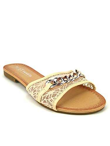Cendriyon, Mule Dentelle Beige CHALY Chaussures Femme Beige