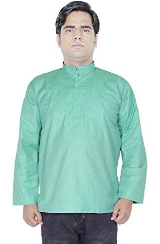 Camicia da uomo kurta cotone abito a maniche lunghe pulsante su camicia di polo -size l