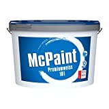 McPaint Wandfarbe Premiumweiß für den Innenbereich, matt 10 Liter, weiß, hochwertige Wandfarbe, beste Deckkraft universelle Innenfarbe, bis zu 80m² - weitere Größen verfügbar