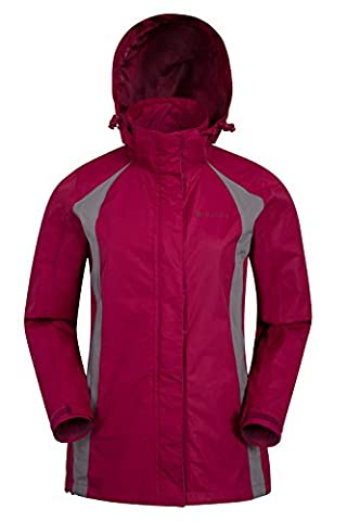 Mountain Warehouse Gust Womens Jacket - Waterproof, Mesh Lined, Breathable with Taped Seams & Packaway Hood, Double Storm Flap - Perfect for Outdoor Excursions & Walks Berry 14