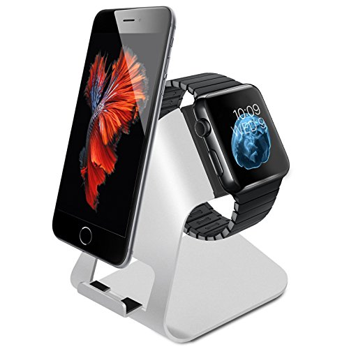 Apple Watch Stand,Splaks New Released Aluminum Made 2-in-1 Charging Stand Holder Dock for pple Watch & iPhone, Docking Station Charger For all iPhone & iWatch (iPhone 5/ 5S/ 6/ 6 Plus, iWatch BASIC Model / SPORT Version / EDITION Model) by Splaks