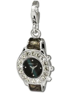 SilberDream Charm Armbanduhr Zirkonia 925 Sterling Silber Charms Anhänger für Armband Kette Ohrring FC657