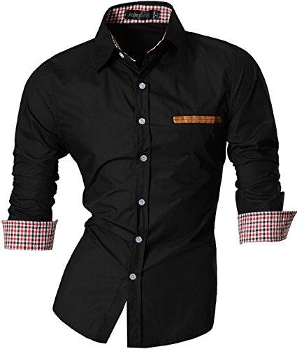 Jeansian Hommes Chemise Casual Slim Fit Trend Fashion Mens Shirt 8561 Black