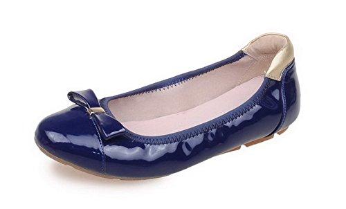 VogueZone009 Femme Rond à Talon Bas Verni Couleur Unie Tire Chaussures à Plat Bleu