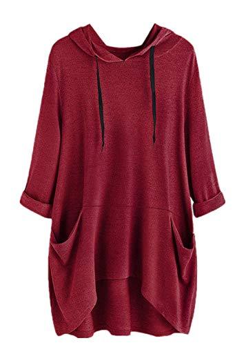 Yvelands Damen Sweatshirt Pullover Lässige Print Katzenohr Kapuze Kurze Ärmel Pocket Top Bluse Shirt (Wein3,S) -