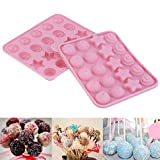 Silikon Cake Pop Backform,20 Hohlraum Formen Silikon Lollipop Form Tablett für Hard Candy, Lollipop und Party Cupcake mit 20 Stück Stöcke
