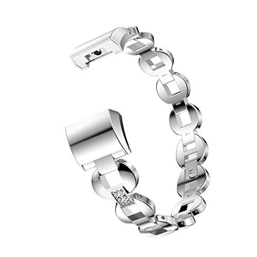 CICIYONER 1 PC Damen Kristall Exquisite bequeme Edelstahl Uhrenarmband Armband für Fitbit Ladung 2 Smart Watch, 185mm Länge, Anwendbar für 135-245mm Handgelenk (Silber 01, Fitbit charge 2 Band)