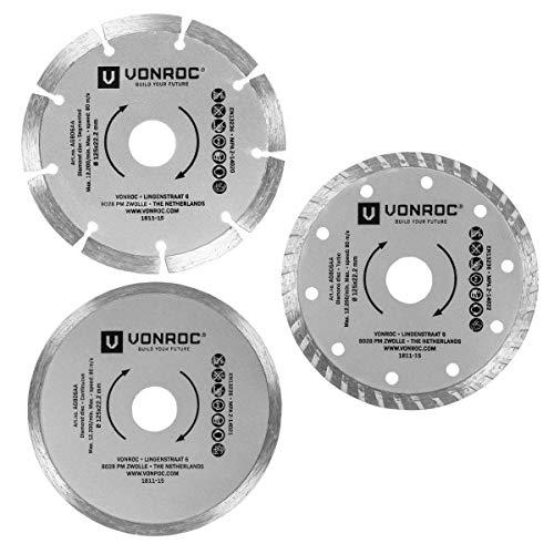 Diamant-Trennscheiben-Set 3-teilig - Segment, Turbo und Vollrand - Ø 125 x 1,2 x 22,2 mm ()