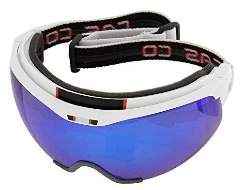 Langlauf Brille Casco Spirit Carbonic, weiß-blau, inkl. Hardcase, Sacchetto und Wechselscheibe, Gr. L
