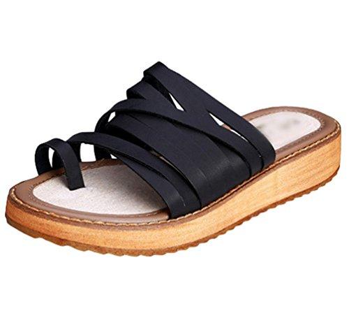 Yiiquan Donna Infradito Pantofole Spiaggia Clip Toe Sandali Elegante Estate Scarpe Roma Taglie Forti Nero