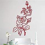 yiyiyaya Romantique Rose Stickers Muraux Fleur Décor À La Maison Belle Conception pour Fleur Boutique Stickers Muraux Salon Chambre Décoration Noir 58x32cm