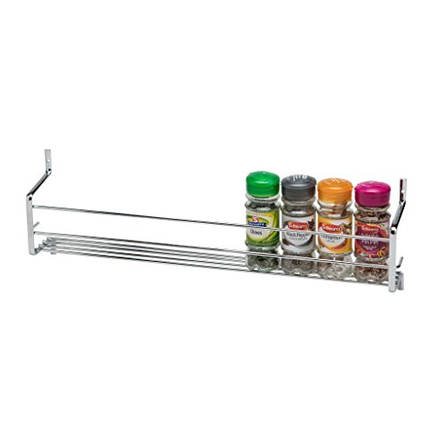 CKB Ltd® Spice Rack Metall wallmounted–Chrom Regal Wand Schrank Tür Aufbewahrung Ständer montiert Küche Kochen Universal Organizer, 1 TIER - HOLDS 10 JARS (Reise-mason-jar-glas)