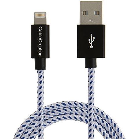 [Apple MFi certificato] CableCreation Cavo Lightning a USB di ricarica e sincronizzazione per iPhone 6s, iPhone 6, iPhone 5/5S/5C, Metallo Plug & Giacca in cotone, colore: blu e bianco, L = 1,2m/1,2m