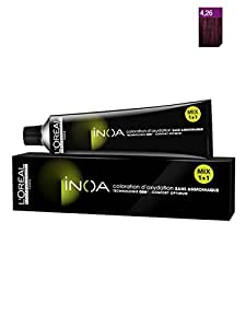 Loreal Professional Inoa Hair Colour Tubes-3 Tubes*No 4.26 (Iridescent Red Brown) + 1 Pc Of Inoa Developer 20 Vol (6%) 1000 ml