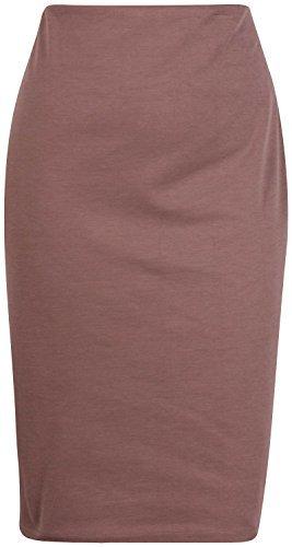 NEU Damen einfarbig gerade Ponte Rückseite Schlitz Damen dehnbar Bleistift Wiggle Skirt Übergröße - Mokka, 40-42 (Ponte-bleistift-rock Damen)