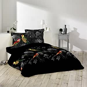 Housse de couette et taies d'oreiller Perroquet noire