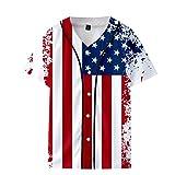Bcfuda Coppia Estate Bandiera Stampato Corto Baseball Uniforme Giacca Sciolto Casuale Camicie Unisex Casual Manica Corta T-Shirt 3D Personalizzata Tees Maglietta da Uomo e Donna