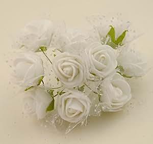 100x Fiorellini Rose ROSA Foam PE Con Organza Neve Bomboniera Fai Da te decorazione (BIANCO)