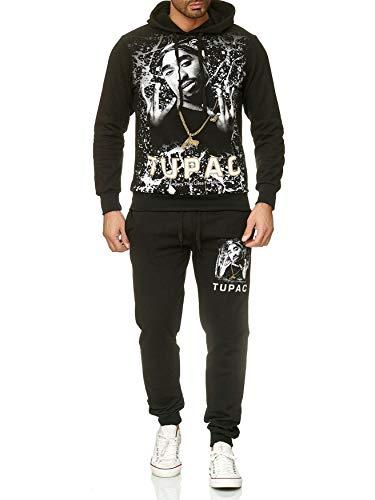 Herren Trainingsanzug 2Pac Shakur Jogginganzug Hip Hop, Farben:Schwarz, Größe Pullover:M