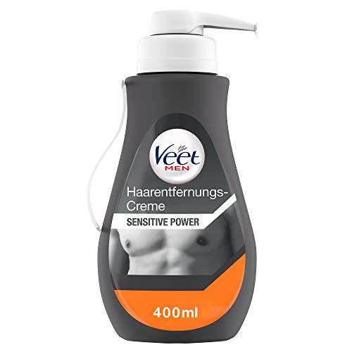 Veet Men Hair Removal Cream Sensitive - Depilazione rapida ed efficace per uomini in 5-10 minuti, dispenser da 400 ml con spatola