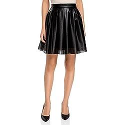 oodji Ultra Mujer Falda de Piel Sintética con Perforaciones y Pliegues Suaves, Negro, ES 34 / XXS