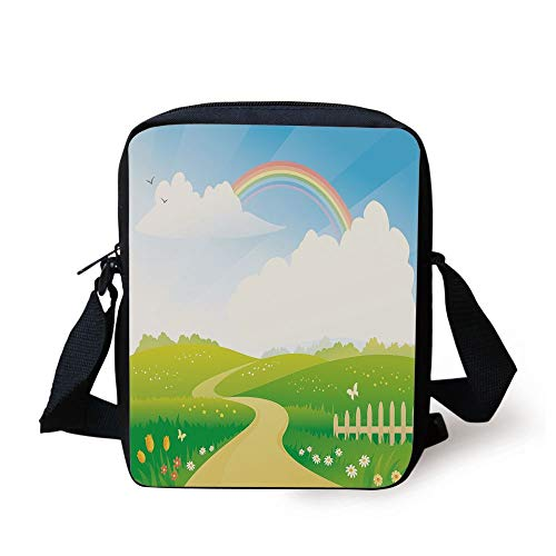 WITHY Rainbow,Landscape Image Green Hills Road and Rainbow Nature Flowers Love Earth Decorative,Lime Green Multicolor Print Kids Crossbody Messenger Bag Purse
