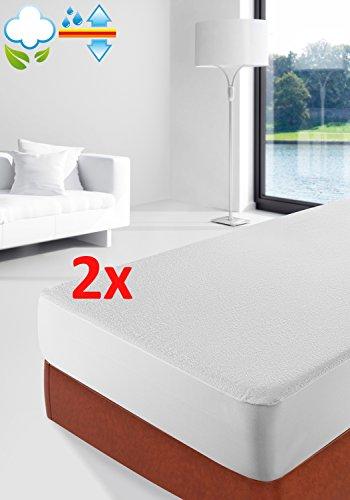 Savel--Lot-de-2-Protge-matelas-Impermable-et-Respirante-ponge-Bouclette-100-Coton-90x190200cm-Alse--disponible-en-plusieurs-dimensions