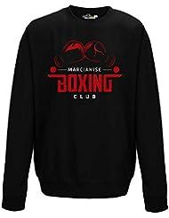 Sudadera cuello redondo Boxeo Marcianise Boxing Club guantes Sport Gimnasio 1Hombre, Black Opal