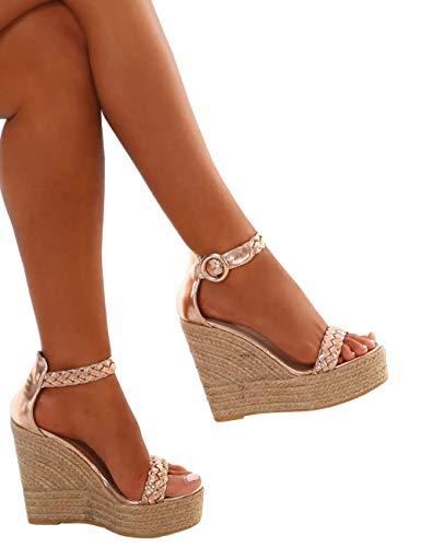 Minetom Damen Sandalen Sommer Schnalle Wedge Absätze Peep Toe Römersandalen Strand Elegant Sexy Mode Sandal Schuhe Gold EU 39