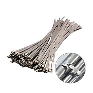 AmgateEu 100pcs 11.8 Inches Stainless Steel Cable Zip Ties Exhaust Wrap Coated Locking