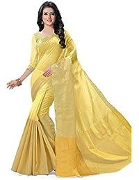 Venisa Women's Dyed Art Silk Cotton Weaving Saree ( Yellow_A006)