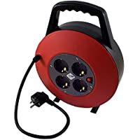 TM Electron TMUAD215 - Cable de alimentación en Bobina Enrollable de 15 Metros con 4 Tomas, Color Rojo