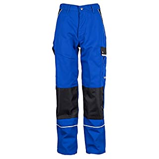 TMG® Robuste Arbeitshose für Männer | Lange Herren Bundhose mit Kniepolster Taschen und Reflektoren | Handwerker, Sanitär, Metallbau | Blau 52